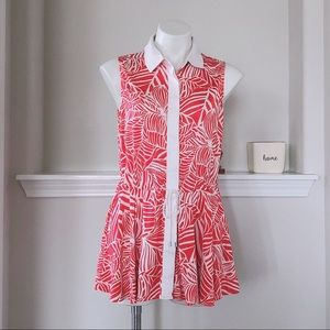 PREMISE SLEEVELESS FLORAL COLLARED BLOUSE SIZE L